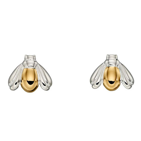 Bee earrings in silver with yellow gold plating