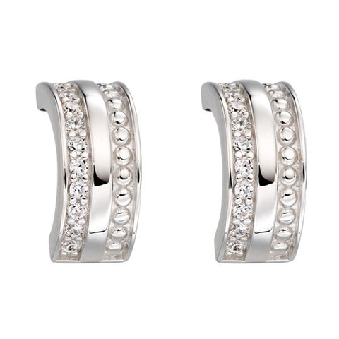 Cubic zirconia half hoop earrings in silver