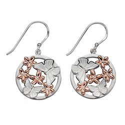 Butterfly and flower earrings in silver with rose gold plating