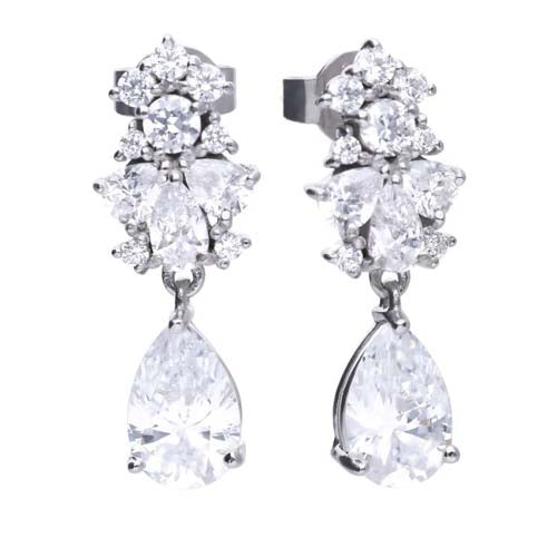 Cubic zirconia pear shape cluster drop earrings in silver