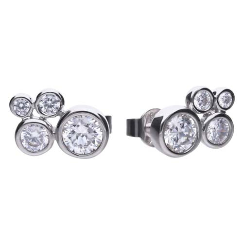 Cubic zirconia bubble earrings in silver