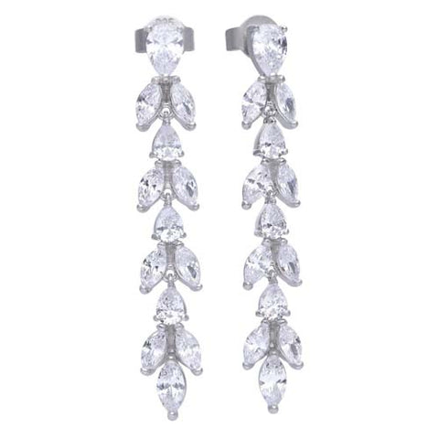 Cubic zirconia leaf drop earrings in silver