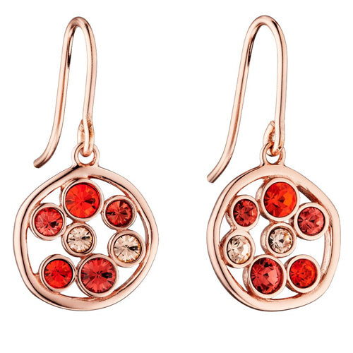 Multicolour crystal circle drop earrings in silver with rose gold plating