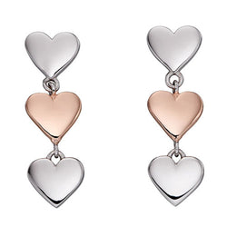 Triple heart drop earrings in silver with rose gold plating