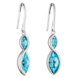 Aqua crystal marquise shape drop earrings in silver