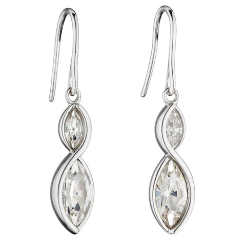 Cubic zirconia marquise shape drop earrings in silver