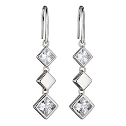 Square cubic zirconia drop earrings in silver