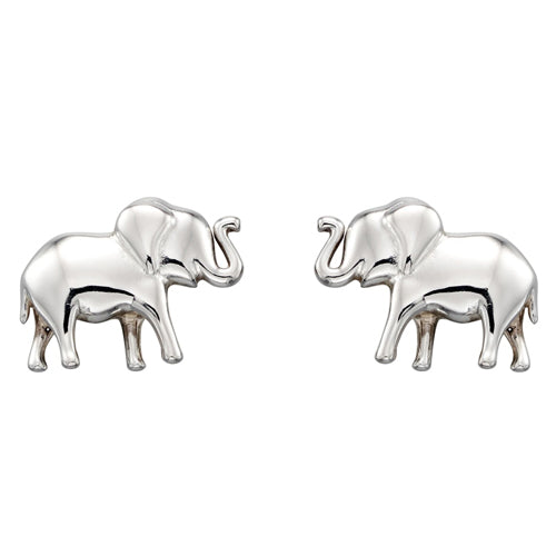 Elephant stud earrings in silver