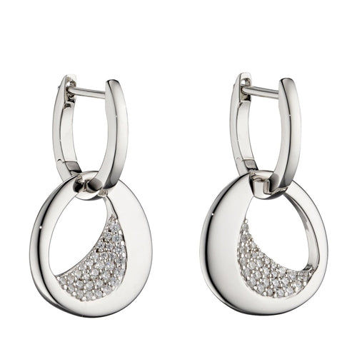 Cubic zirconia abstract drop earrings in silver