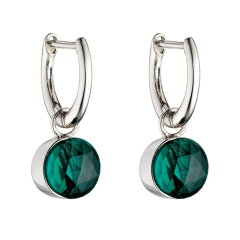 Green crystal drop earrings in silver