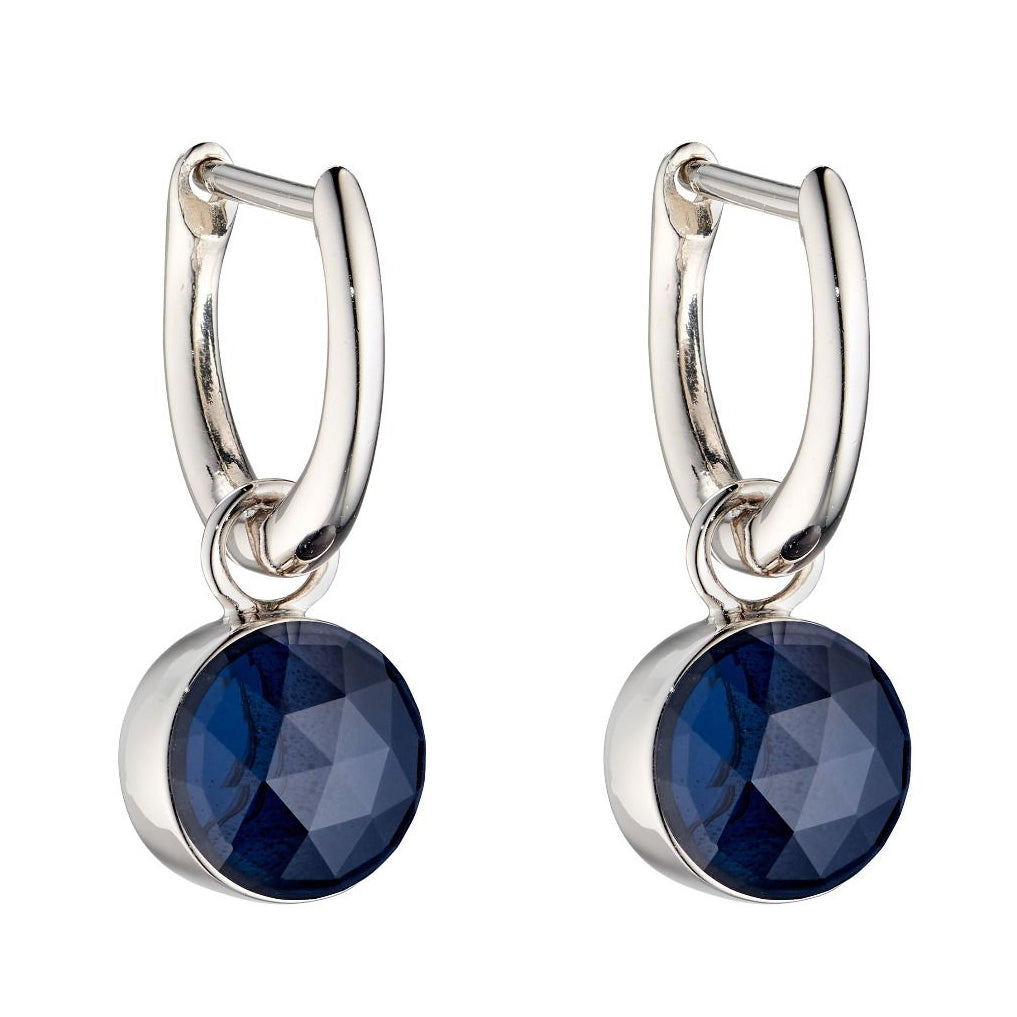 Blue crystal drop earrings in silver