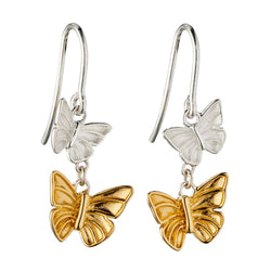 Double butterfly drop earrings in silver with gold plating