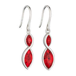 Red crystal drop earrings in silver