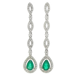Earrings - Emerald and diamond drop earrings in 18ct white gold  - PA Jewellery