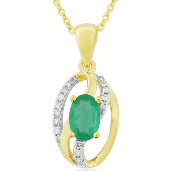 Neckwear - Emerald and diamond pendant and chain in 9ct yellow gold.  - PA Jewellery
