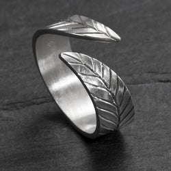 Frond ring in argentium silver