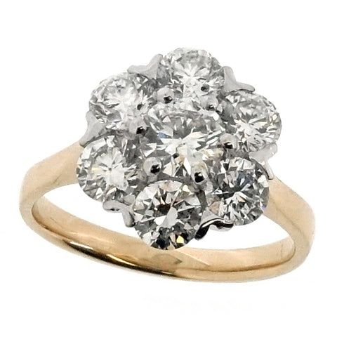 Diamond cluster ring in 18ct gold and platinum, 1.99ct