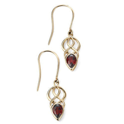 Garnet celtic design drop earrings in 9ct gold