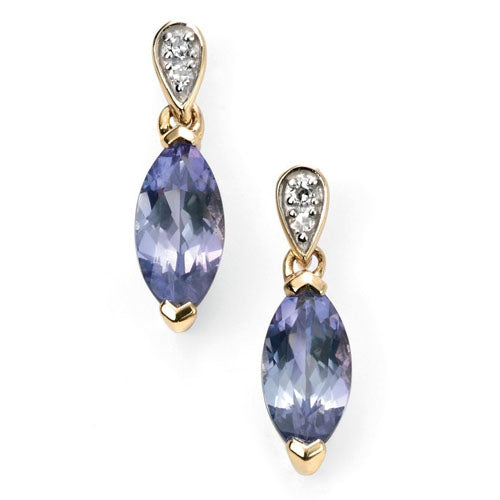 Tanzanite and diamond earrings in 9ct gold