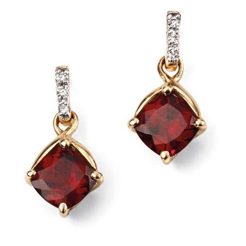 Garnet and diamond drop earrings in 9ct gold