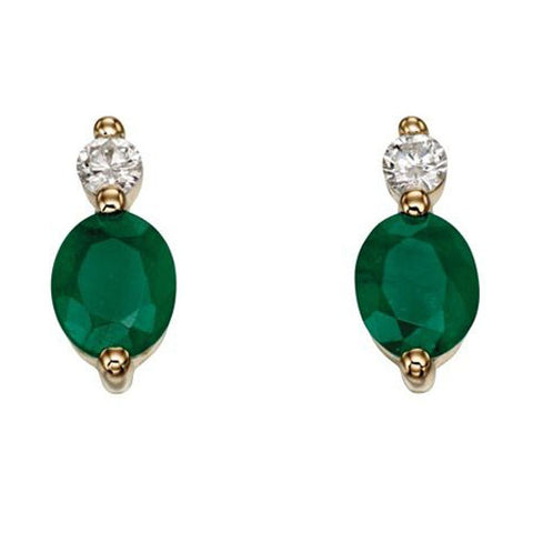 Emerald and diamond earrings in 9ct yellow gold