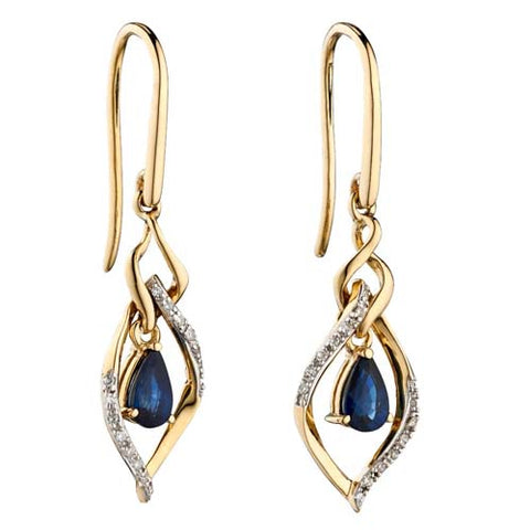 Sapphire and diamond drop earrings in 9ct gold