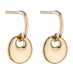 Disc drop half hoop earrings in 9ct gold