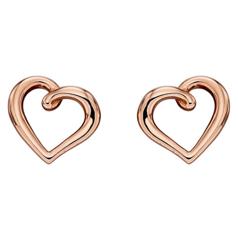 Open heart stud earrings in 9ct rose gold