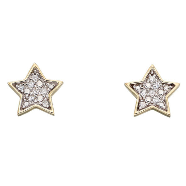 Diamond set star stud earrings in 9ct gold