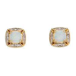 Opal and diamond cluster earrings in 9ct gold