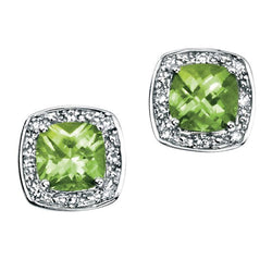 Peridot and diamond halo cluster earrings in 9ct white gold