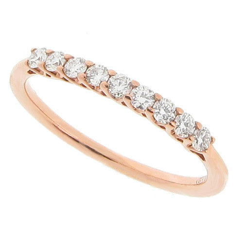 Rings - Claw set diamond half eternity ring in 9ct rose gold, 0.25ct  - PA Jewellery