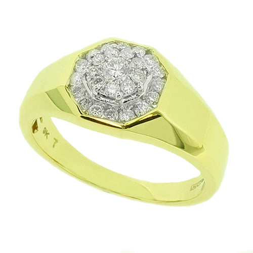 Gents' Diamond set signet ring in 9ct gold, 0.46ct