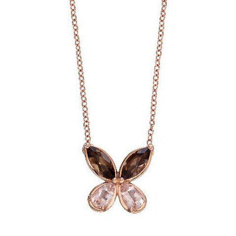 Smoky Quartz and Morganite butterfly necklace in 9ct rose gold