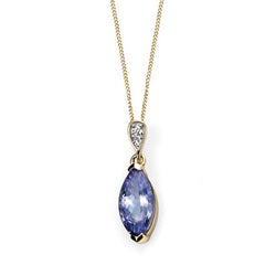 Tanzanite and diamond pendant and chain in 9ct gold