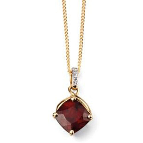 Garnet and diamond pendant and chain in 9ct gold