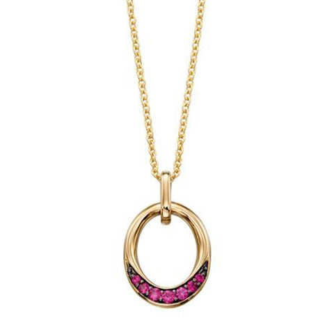Ruby open oval pendant and chain in 9ct gold