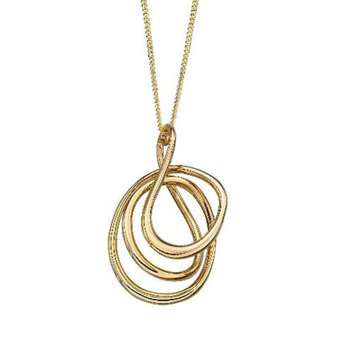 Spiral wire pendant and chain in 9ct yellow gold
