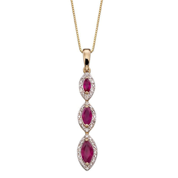 Ruby and diamond marquise triple drop pendant and chain in 9ct gold
