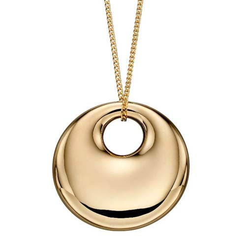 Convex polished disc pendant and chain in 9ct yellow gold
