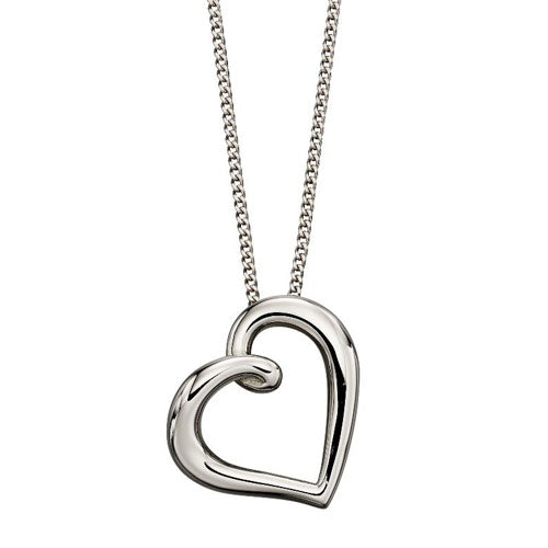 Open heart pendant and chain in 9ct white gold
