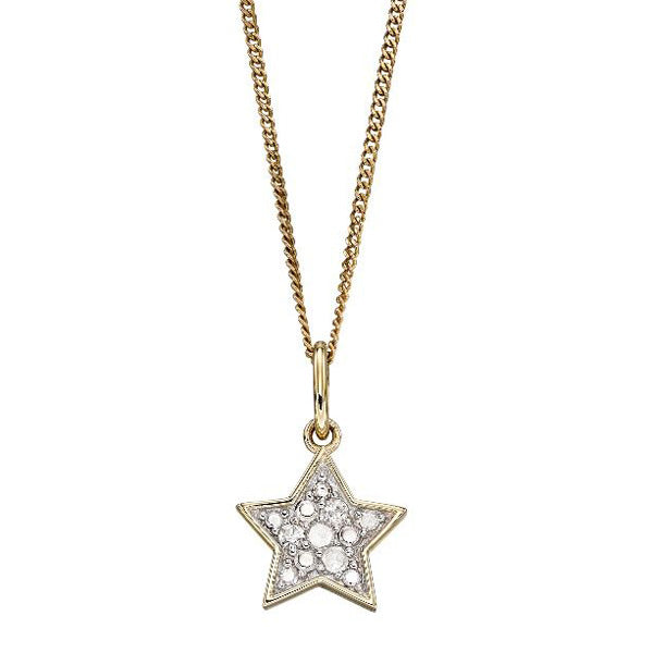 Diamond set star pendant and chain in 9ct gold