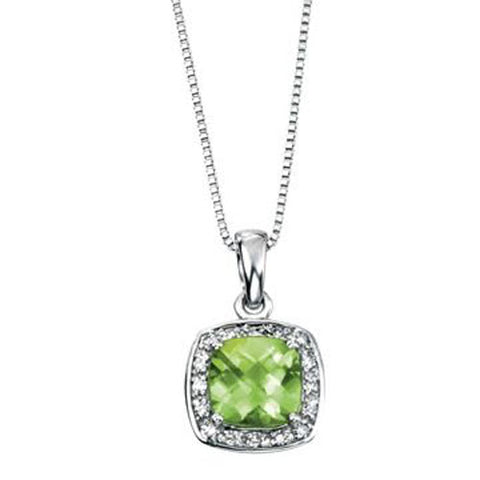 Peridot and diamond halo cluster pendant in 9ct white gold