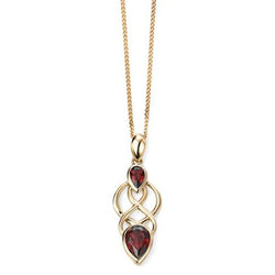 Garnet celtic style pendant and chain in 9ct gold