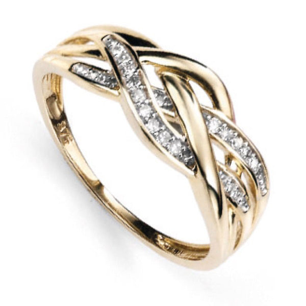 Diamond set plaited dress ring in 9ct gold
