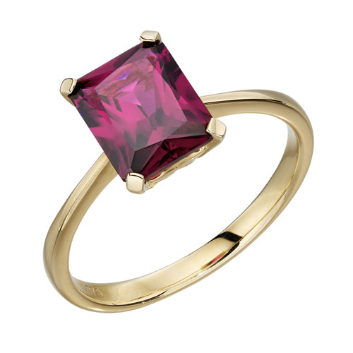 Rhodolite garnet solitaire ring in 9ct gold
