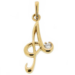 Neckwear - 'A' cubic zirconia initial pendant in 9ct yellow gold  - PA Jewellery