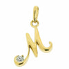 Neckwear - 'M' cubic zirconia initial pendant in 9ct yellow gold  - PA Jewellery