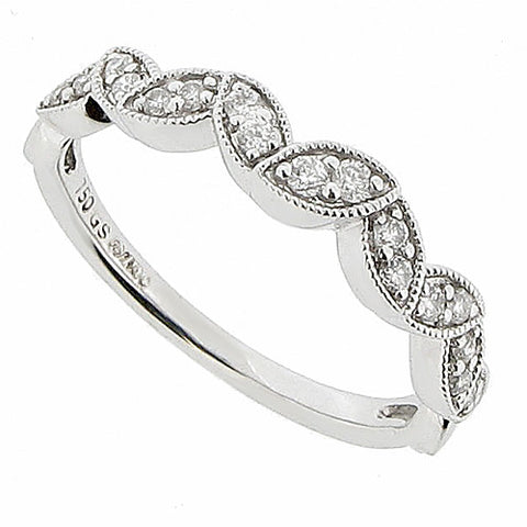 Rings - Diamond half eternity ring with marquise detail in 18ct white gold, 0.20ct  - PA Jewellery