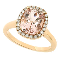 Morganite and diamond cluster ring in 18ct rose gold